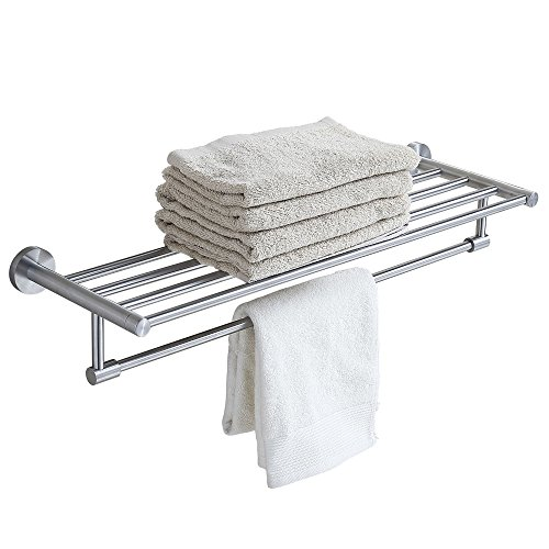24 Inch Stainless Steel Bath Towel Rack Bathroom Shelf with Double Towel Bar 60 CM Storage Organizer Contemporary Hotel Square Style Wall Mount  Brushed Finish - B01M7YRZUE